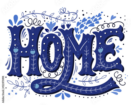 Home. Hand drawn vintage illustration