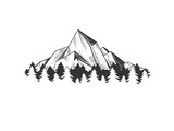 Mountains engraving style vector illustration
