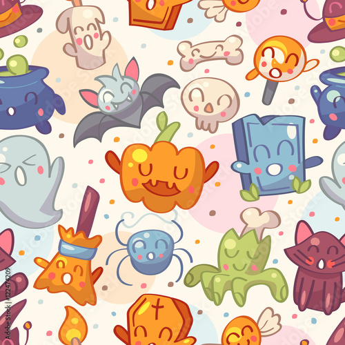 Cotton fabric Halloween seamless pattern with cute characters. Vector illustration.