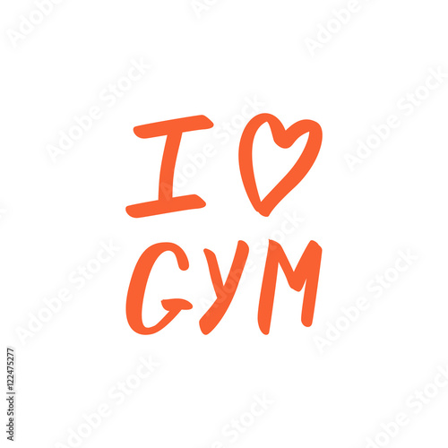I love GYM calligraphic phrase on white background. Poster