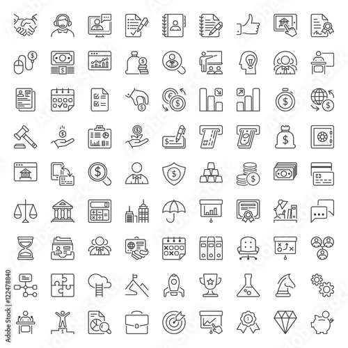 Fridge magnet business and finance thin line iconset