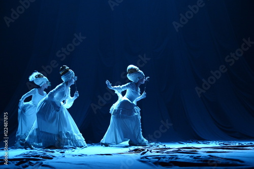 Three girls in vintage dresses actress on stage Poster