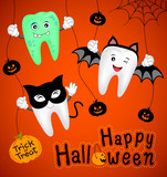 Teeth character with pumpkin in moon night on halloween. Funny illustration for banner, poster, greeting card