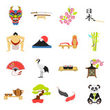 Japan set icons in cartoon style. Big collection of Japan vector illustration symbol.