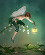 Little elf with lantern sits on a lily of the valley