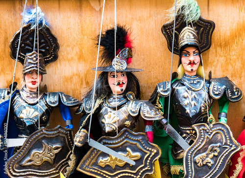 Poster Sicilian puppets for sale. Sicily, Italy