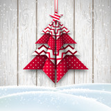 red and white origami chritmas tree, holiday theme, illustration