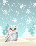 Christmas theme, white owl sitting in snowy landscape, illustration
