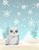 Christmas theme, white owl sitting in snowy landscape, illustration
