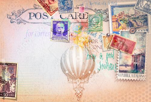 Cartolina vintage di posta aerea con francobolli e mongolfiera