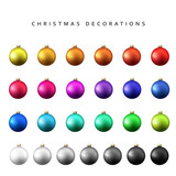Fototapety Christmas decoration balls range. Gloss Christmas balls isolated on a white background realistic vector illustration