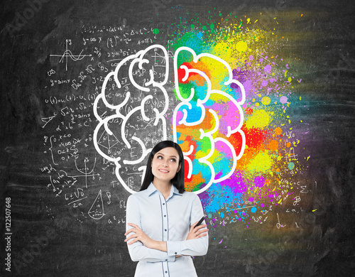 Poster Girl with black hair near blackboard with brain icon