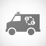 Isolated ambulance icon with a dollar euro exchange sign