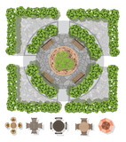 Landscape design composition with top view gardening and furniture for the garden.vector illustration