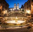 Quadro Piazza di Spagna, fontana della Barcaccia, Scalinata di Trinità dei Monti, Roma