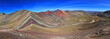 The total panorama of the beautiful colored Rainbow Mountain, near Cusco in the peruvian mountains. Located about 20km south of Ausangate mountain.