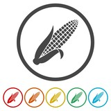 Corn flat design icon isolated on a circle