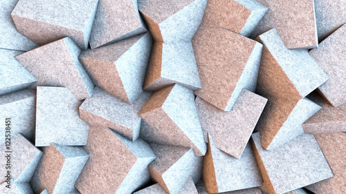 Light stone cubes mixed together. Abstract background. 3D rendering.