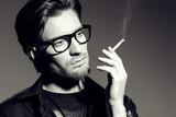 pensive with cigarette