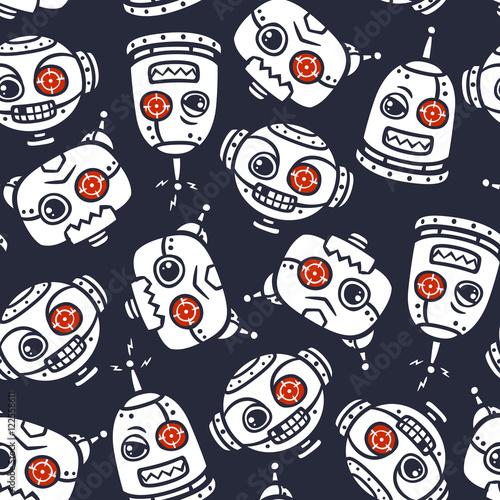 vector robot head seamless pattern