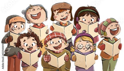 Fototapeta niños cantando en coro en navidad