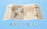World map in flat style with map colored map pointers