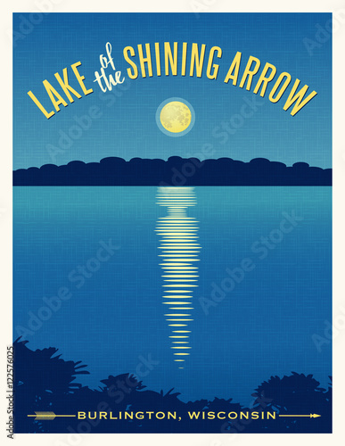 Moon shining reflection on calm lake. Travel poster retro design