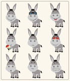 Vector set isolated funny donkey. Collection cute donkey in cartoon style.