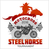 Fototapety Motocross Tournament emblem - moto and horse for t-shirts on white background
