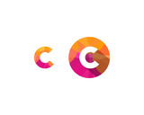 C Letter Multiply Colorful Shadow Pixel Logo Designs Element