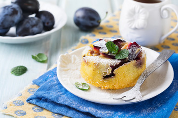Homemade plum pudding on a ceramic plate. Selective focus.