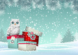 Christmas theme, white owl sitting on group of gift boxes in snowy landscape, illustration