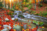 Fototapety Mountain river with rapids and waterfalls at autumn time time