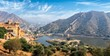 View of Amer (Amber) fort and Maota lake, Rajasthan, India