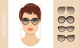 Woman sunglasses shapes rectangle women face type. Various forms of summer glasses for rectangle face. Fashion collection. Vector set. - 122617031