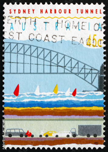 Poster Postage stamp Australia 1992 Sydney Harbor Bridge and Tunnel