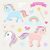 Fototapety Unicorn set with running unicorn, standing unicorn, unicorn head, hearts, clouds, rainbow, magic wand, stars, bows, diamonds, wing and text: My Unicorn.