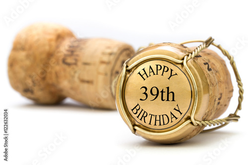 Poster Happy 39th Birthday - Champagne