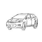 Black and white hand drawn car on white background, illustrated - 122634873