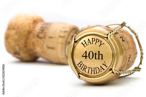Poster Happy 40th Birthday - Champagne