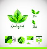 Ecological eco bio leaf green logo icon design