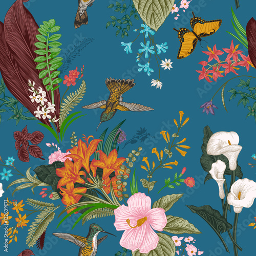 Vector seamless vintage floral pattern. Exotic flowers and birds. Botanical classic illustration. Colorful - 122639071
