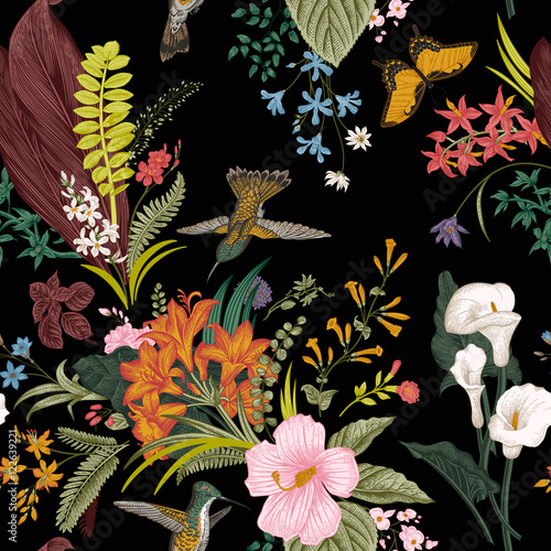 Vector seamless vintage floral pattern. Exotic flowers and birds. Botanical classic illustration. Colorful - 122639221