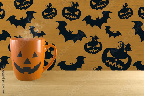 Poster hot halloween ghost cup on purple bat background
