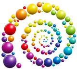 Spiral with colorful balls on white background. - 122652462