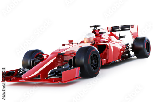 Foto op Canvas Snelle auto s Race car and driver angled view on a white isolated background. 3d rendering