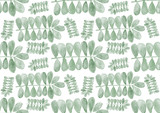 Seamless watercolor pattern with green leaves hand painted botanical texture