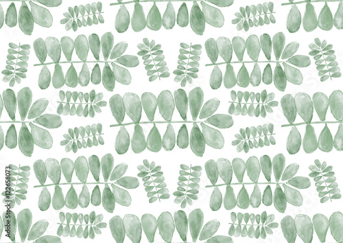Seamless watercolor pattern with green leaves hand painted botanical texture - 122658073