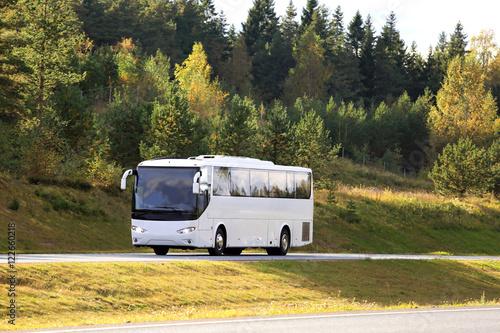 Poster White Coach Bus Travel in Autumn