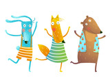 Cute Baby Animals Rabbit Fox Bear Dancing or Playing Kids Characters Wearing Clothes